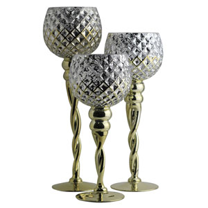 Gold Rizzo Candle Holders, Set of Three