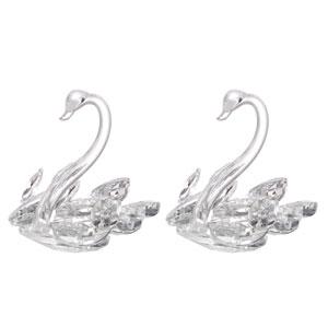 Swan Clear Elegance Statute Pair, Set of Two
