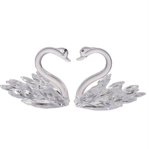 Swan Clear Elegance Statue Duo, Set of Two