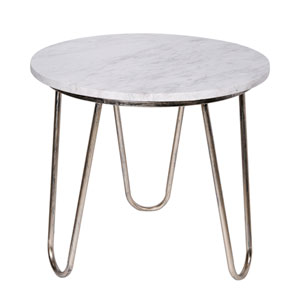 White Top with Silver Legs End Table