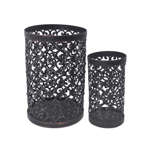 Metal Candle Holders, Set of Two
