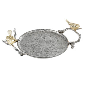 Silver and Gold Round Tray with Handles