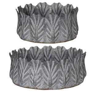 Acoma Galvanized Metal Bowls, Set of Two