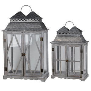 Silver Scape Lanterns, Set of Two
