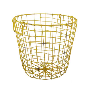 Antique Yellow Grafton Round Wire Basket