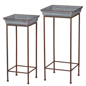 Grey Metal Plant Stand, Set of Two