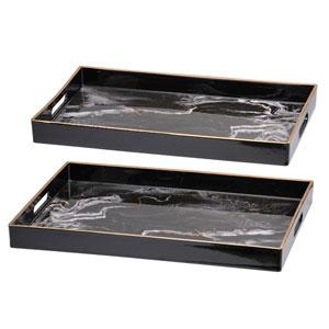 Effra Black Marbled Rectangular Trays, Set of Two