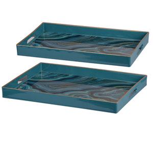 Effra Blue Marbled Rectangular Trays, Set of Two
