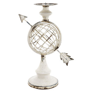 Florence de Dampierre by AB Home Antique White Armillary Sphere Candleholder