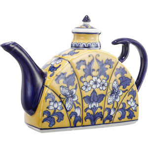 Florence de Dampierre by AB Home Blue and Yellow Ceramic Tea Pot