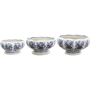Florence de Dampierre by AB Home Blue and White Ceramic Planters, Set of Three