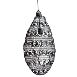 Florence Black Oval Wire Weave Pendant Light