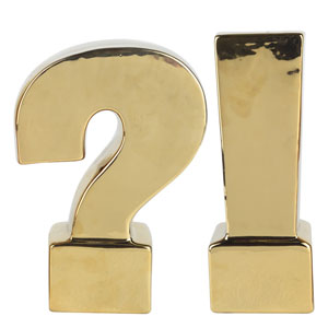 Urban Vogue Gold Question and Exclamation Mark Bookends