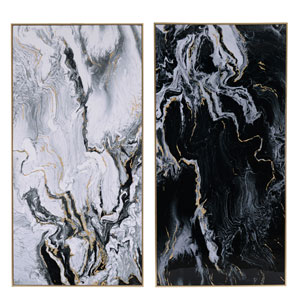 Marbled Print with Gold Frame, Set of Two