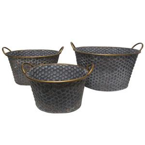 Seneca Black Band Oval Metal Planters, Set of Three
