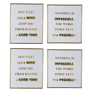 Large Mindful Sayings Wall Art, Set of Four