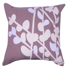 Taupe 18-Inch Embroidered Pillow