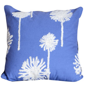 Blue 18-Inch Embroidered Pillow