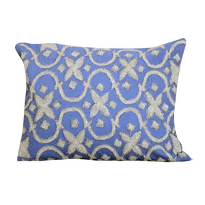 Blue 16 x 20-Inch Embroidered Pillow