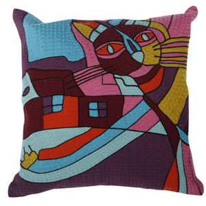 Multicolor 18-Inch Embroidered Pillow