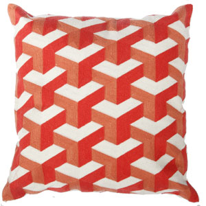 Orange 18-Inch Embroidered Pillow