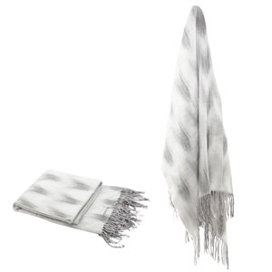 Gray Space Dyed Fringed Throw