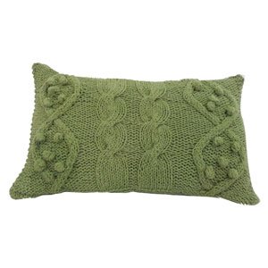Green 14 x 20-Inch Twisted Cable Knit Pillow