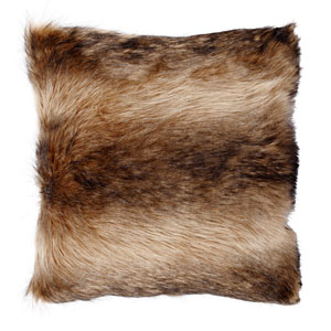 Faux Fur Brown and Cream 20-Inch Pillow