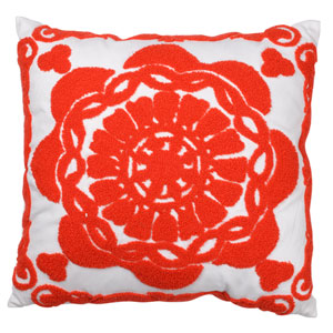 Red 18-Inch Embroidered Pillow