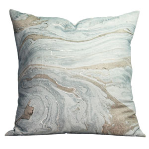 Blue and Beige Marble 22 In. Throw Pillow