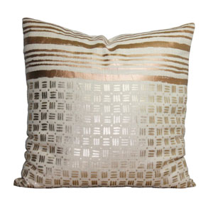 Gold Line and Dot 22 In. Throw Pillow