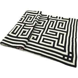 Venetucci Collection Black and White Acrylic Chevron Jacquard Throw