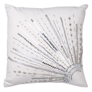 Nina Silver 18-Inch Beaded White Cushion Cover