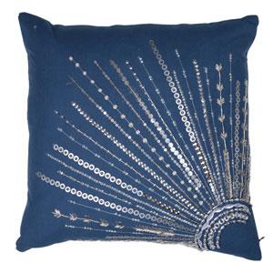 Venetucci Blue Beaded Cushion Cover