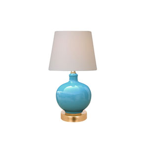 Porcelain Ware One-Light Turquoise Small Lamp