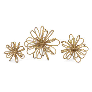 Gold Flower Statuaries, Set of 3