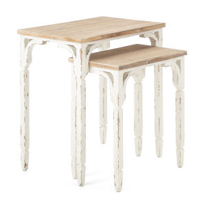 Chantel White and Beige Accent Table, Set of 2
