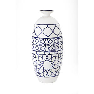 Piccolo White and Blue Tall Narrow Oversized Vase