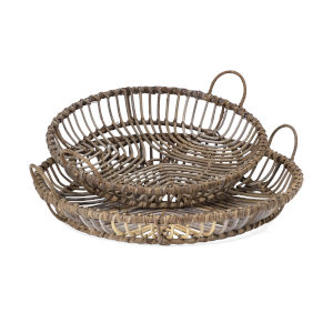 Neutro Brown Rattan Tray, Set of 2