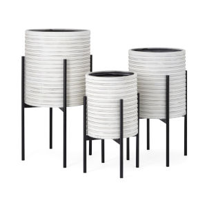 White and Black Planter, Set of 3