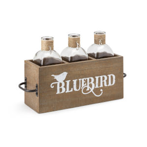 TY Bluebird Brown Three Bottles in Wood Caddy