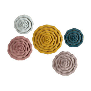Finley Multicolor Dimensional Flower Wall Décor, Set of 5