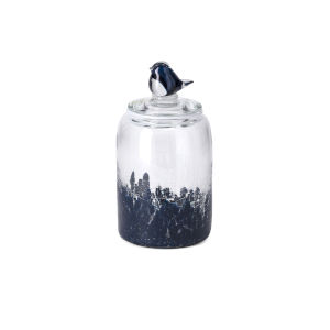 TY Clear and Blue Small Art Glass Canister