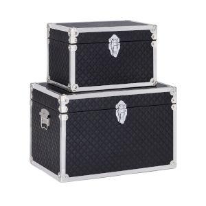 Pga Tour Black and White Decorative Trunk, Set of 2