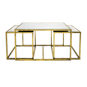 Ethan Gold Mirror Table, Set of 3