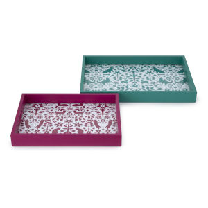 Otomi Teal and Pink Pet Tray, Set of 2