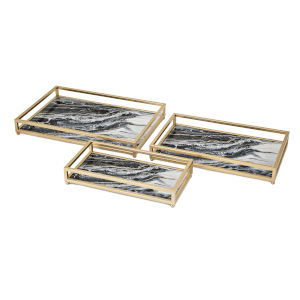 Contrast Black and Gold Faux Marble Decorative Tray, Set of 3