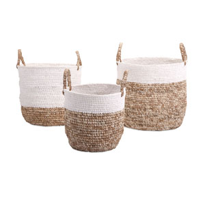 Beige and White Shoelace and Raffia Woven Baskets, Set of Three