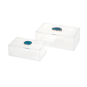 Clear and Blue Agate Acrylic Box, Set of Two