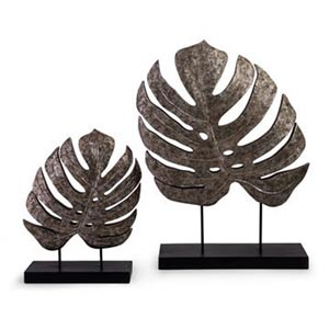 Silver Antiqued Leaves, Set of Two
